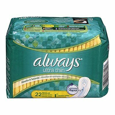Always Ultra Thin Regular Pads without Wings, Unscented, 22 Each