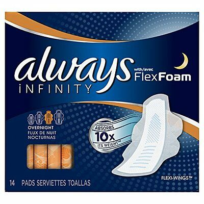 2 Pack - Always Infinity Overnight Pads with Wings, Unscented 14 Each