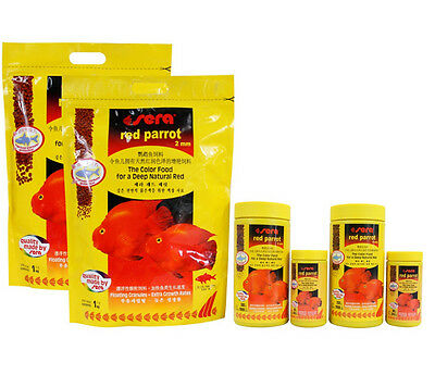 Red parrot fish food granules 2mm 4mm float on water, Sera Brand