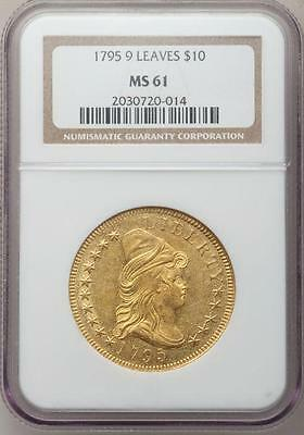1795 $10 9 Leaves Gold Draped Bust NGC MS 61 Rare Coin
