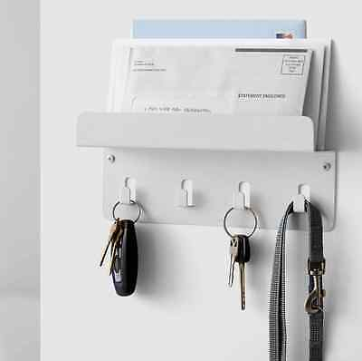 White Key Holder Mail Rack Wall Mount Organizer Letter Storage, Keys Hanger Hook