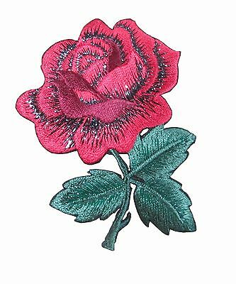 """#5065 3-1//4/""""H Red Rose Flower Embroidery Iron On Applique Patch"""