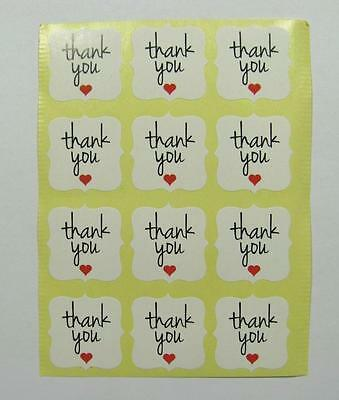 STICKERS small THANK YOU fancy squares WHITE pk of 24 gift labels seals party