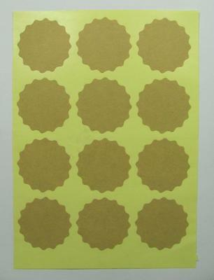 KRAFT STICKERS natural blank FANCY CIRCLE pk of 36 gift labels seals round