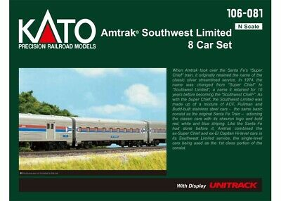Kato 106-081 N Scale Amtrak Southwest Limited 8-Car Set w/ Display Unitrack