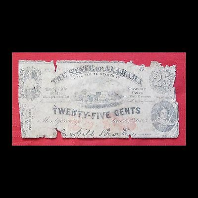 Confederate States - 1863 The State of Alabama 25 Cent Note