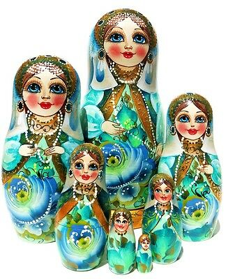 Czarevna Princess 7 Piece Russian Nesting Doll. Exclusive Green and White Floral