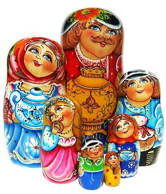 Family Tea Party 7 Pc Russian Nesting Doll. Mother father samovar stacking toy