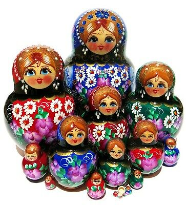 Jewels 15 Pc Blue Nesting Doll with Multi Colored Flowers Russian toy Matryoshka