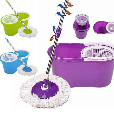 360° Floor Magic Spin Mop Bucket Set Microfiber Rotating Dry Heads Easy Cleaning