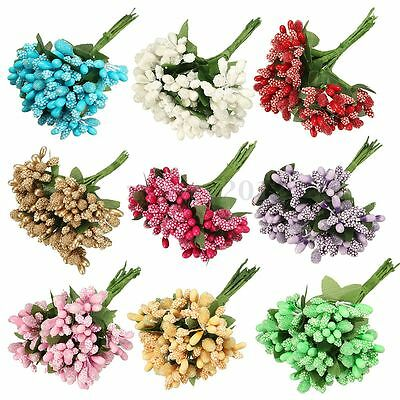 Artificial Floral Cherry Leaf Fake Flower Bouquet Home Wedding Party Decor New