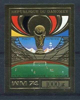 s5105) DAHOMEY 1974 MNH** WC Football - Coppa Mondo Calcio 1v GOLD IMPERF Winner