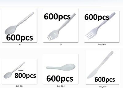 600pcs to 800pcs Disposable party BBQ White Plastic Cutlery Forks Knives Spoons