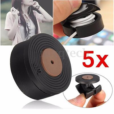 5pcs Round Bobbin Winder Cable Wire Organizer Smart Wrap For Headphone Earphone