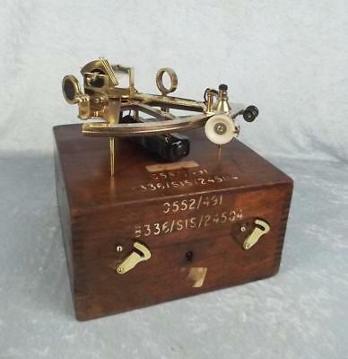 Cased Hughes Patent 491 Brass Naval Sextant With Accessories