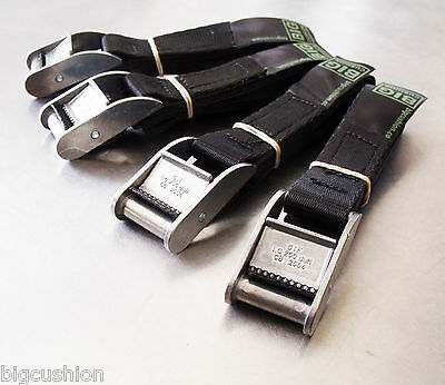4-pack of 1.0m TOUGH Cam Straps Black - Tie-down Cargo Lashing Straps