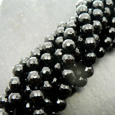 "Black Onyx Faceted 8mm Round Beads 15"" Strand Semi Precious Gemstone"