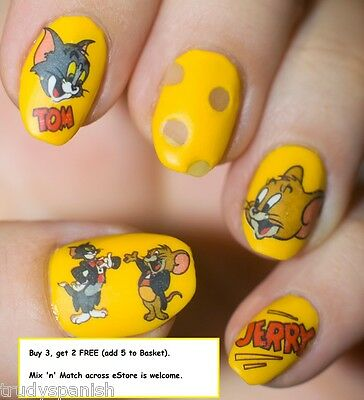 Nail Art Water Decals Transfers Stickers Tom and Jerry Gel Polish Decoration