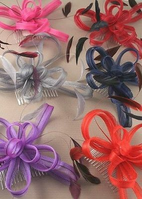 HAIR  hat net & feather  PARTY WEDDING hatinator FASCINATOR COMB