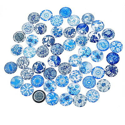 10 Blues Random Mixed Design Round Glass Cabochons Jewellery Making 12mm (032)