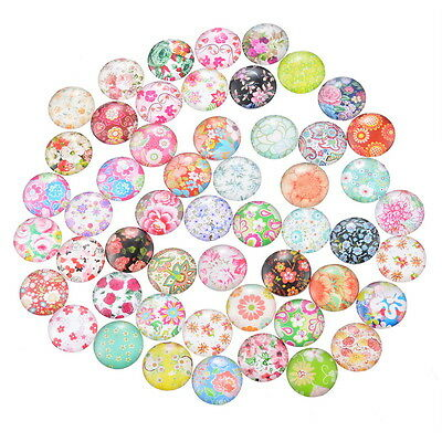 10 Flowers Random Mixed Design Round Glass Cabochons Jewellery Making 12mm (031)