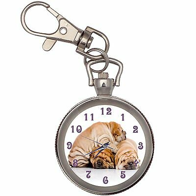 New Sweet Sharpei Trio Key Chain Keychain Pocket Watch
