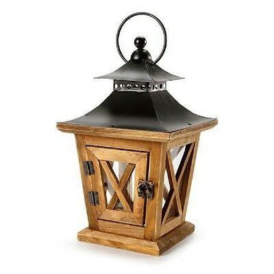 WOOD LANTERN--Hanging Candle Lantern-With with Metal Lid & Glass Windows