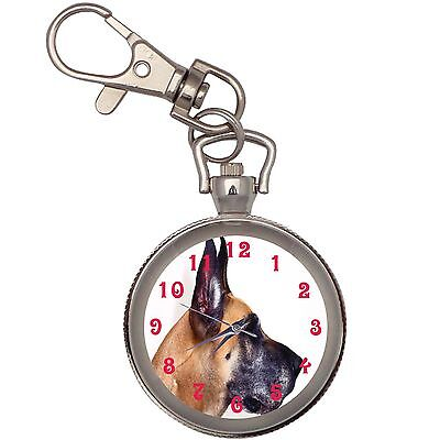 New Great Dane Mug Shot Key Chain Keychain Pocket Watch