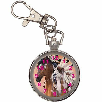New Indians Horses Key Chain Keychain Pocket Watch
