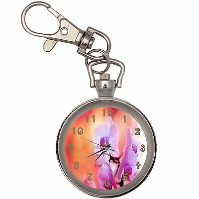 New Orchid Flowers Key Chain Keychain Pocket Watch