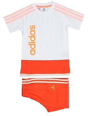Adidas Girls Summer Shorts/Tee Set 2pc F50464 White/peach 3-4yrs up to 9-10yrs