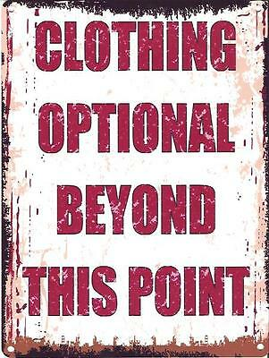 Clothing Optional Metal Sign Retro Vintage Style Small