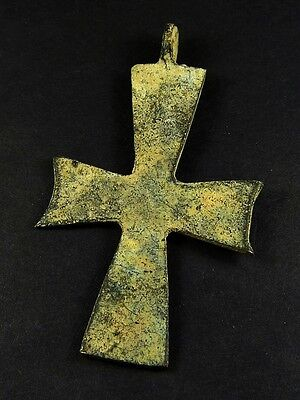 ANTIQUE ANCIENT BYZANTINE BRONZE PECTORAL CROSS PENDANT c.AD700 DETECTOR FIND