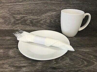 "White MH Paper Napkin Bands (500) Self Adhesive 4-1/4"" x 1-1/2"" Ships Free"