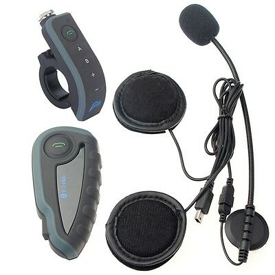 1200M Motorcycle Helmet V8 Bluetooth BT Interphone Intercom Headset+Remote+NFC