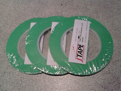 3 ROLLS OF QUALITY 12mm PLASTIC FINELINE MASKING TAPE FOR CLEAN PAINTED LINES