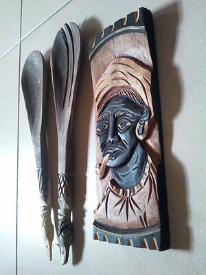 Hand Carved Wooden African man wall art & Pair of hand carved spatula- 3 items