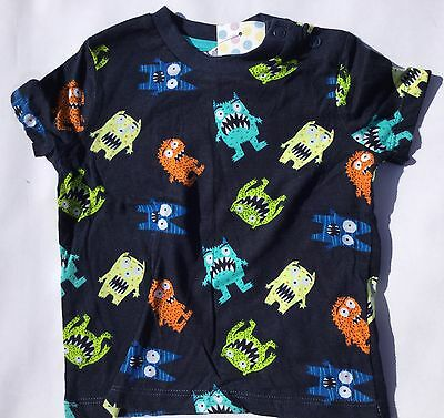 Baby Boy T Shirt in Navy / Dark Blue with Multi Coloured Monsters 3-6 / 6-9 mths