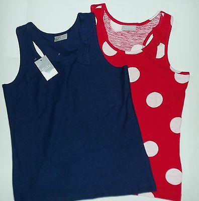 2 pack Girls Racing Back Vest Tops 1 x Navy Blue & 1 x Red with White spot 8-9yr