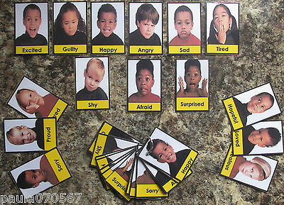 All colour Emotions flash cards~Ring bound cards~SEN~Autism~EYFS~Childminders