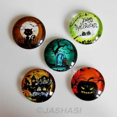 5 Halloween Mixed Round Glass Cabochons Flat Back Jewellery Making 20mm (052)