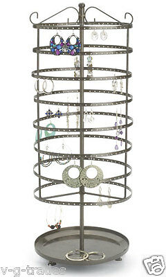 LG NEW 8 Tier Earring Jewelry Carousel Display Rack Raw Steel Finish COUNTERTOP