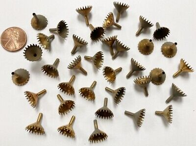 12 VINTAGE BRASS FUNNEL CONE CROWN EDGE 10mm. SETTING BEAD CAP FINDINGS  W845