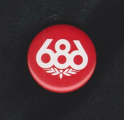 686 ~ Collectible Red & White Pin Back Button