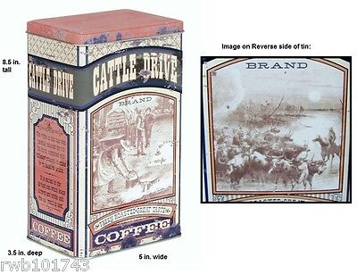 Cattle Drive Coffee Tin Metal Canister cowboy western vintage kitchen bar decor