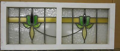 """OLD ENGLISH LEADED STAINED GLASS WINDOW TRANSOM Double Flower 39"""" x 16.25"""""""