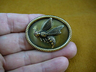 (b-bee-214) Bumble bee honey bees Hornet oval brass pin pendant love bug lover