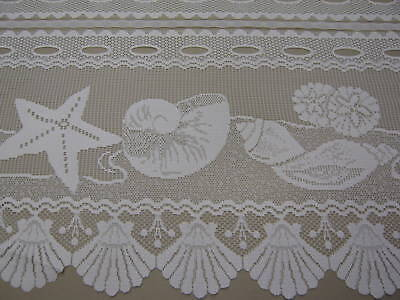 CREAM CAFE KITCHEN LACE CURTAIN SHELLS BEACH HOUSE selling per mt
