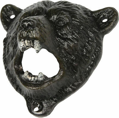 GRIZZLY BEAR HEAD BOTTLE OPENER Wall Mount Cast Iron Country Western Decor