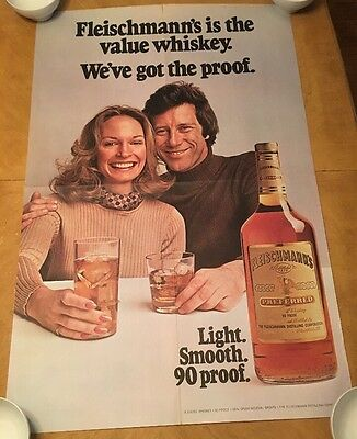 Fleischmann's Vintage Poster Advertisement Whiskey Liquor Pin-up 1975 Original